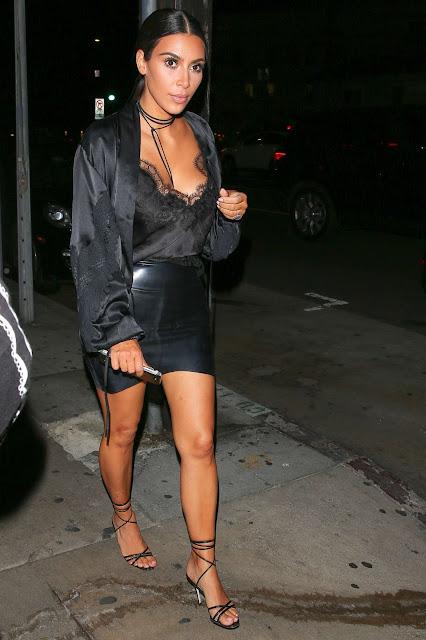 Kim Kardashian in Mini Skirt Leaving Giorgio Baldi in Santa Monica