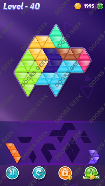 Block! Triangle Puzzle 7 Mania Level 40 Solution, Cheats, Walkthrough for Android, iPhone, iPad and iPod