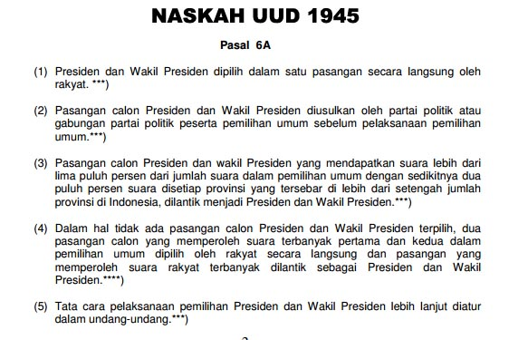 Isi Naskah UUD 1945 Pasal 6A Terkait Pilpres (Pemilihan Presiden)