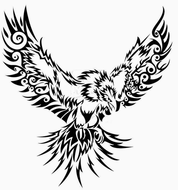 Flying eagle tribal tattoo stencil