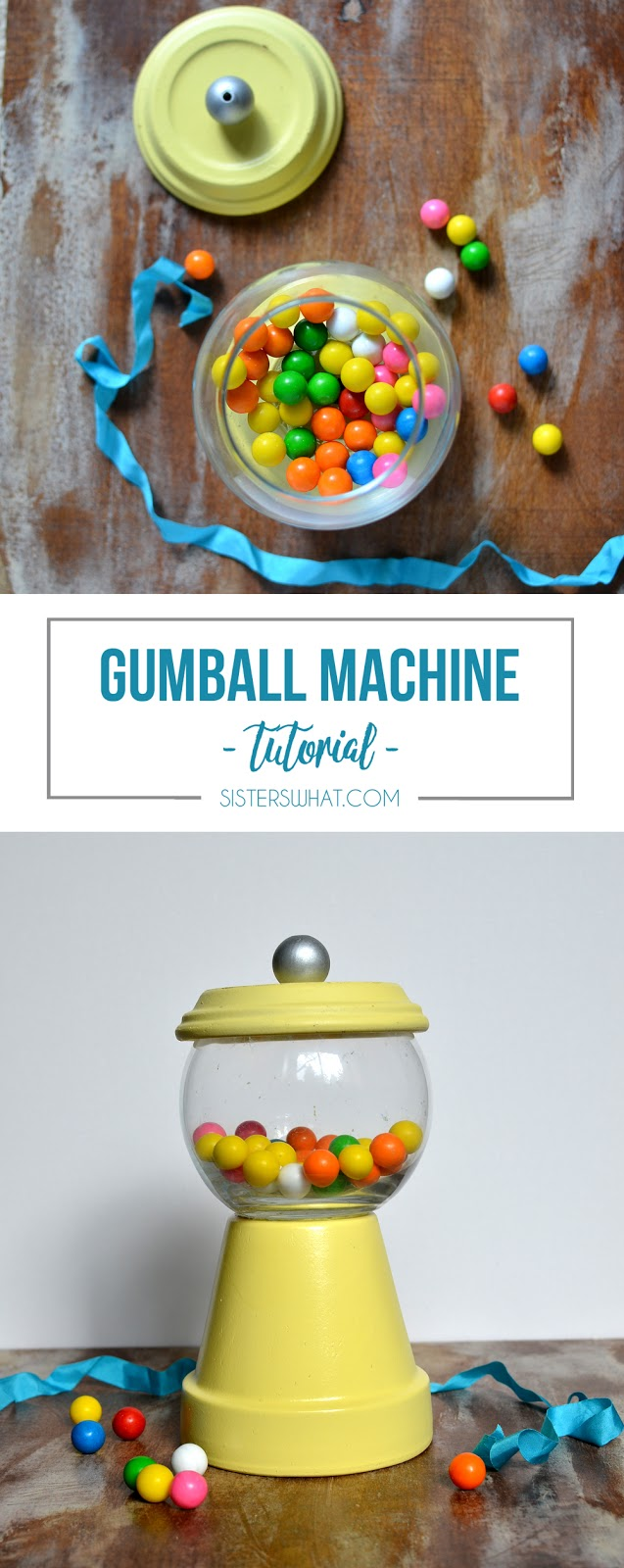 Make a an easy gumball machine for party decor or home decor out of pot and glass fish bowl