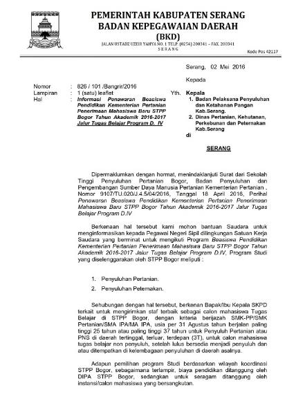 Bkd Kabupaten Bogor : kabupaten, bogor, Informasi, Penawaran, Beasiswa, Pegawai, Negeri, Sipil, Kabupaten, Serang, Blog., Paperplane