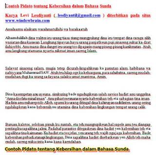 Contoh Pidato Kebersihan dalam Bahasa Sunda