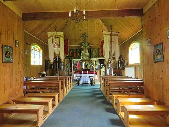 Wnętrze cerkwi w Olchowcu.