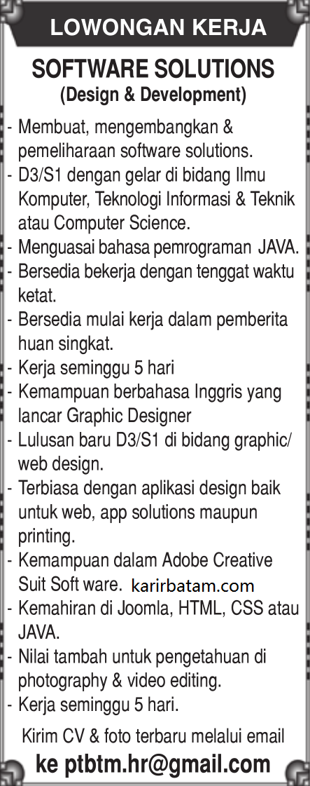 Lowongan Kerja Software Solutions (Design and Development)