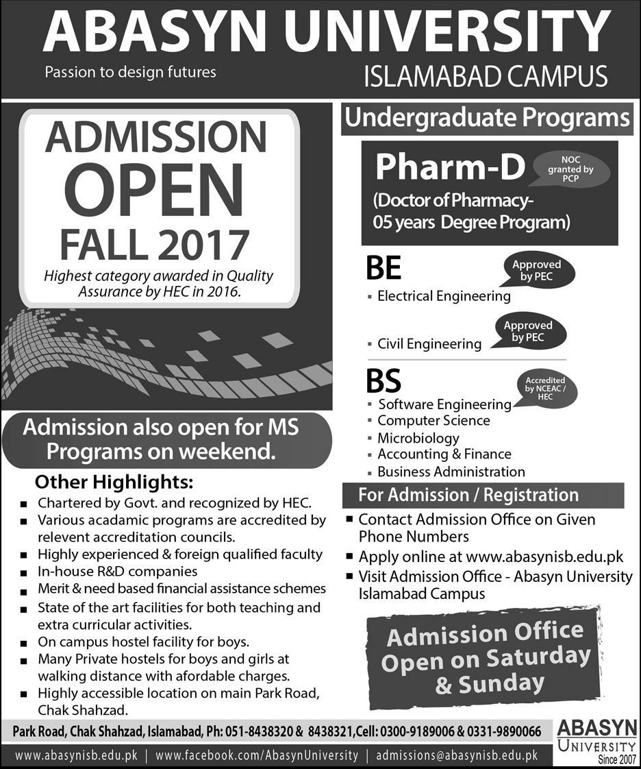 Admissions Open in Abasyn University Islamabad - 2017