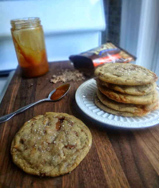 Brown Butter Salted Caramel Stuffed Toffee Chip Cookies