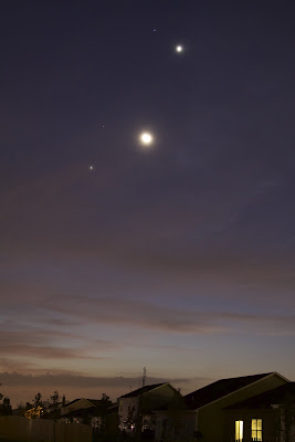 moon and planets over houses