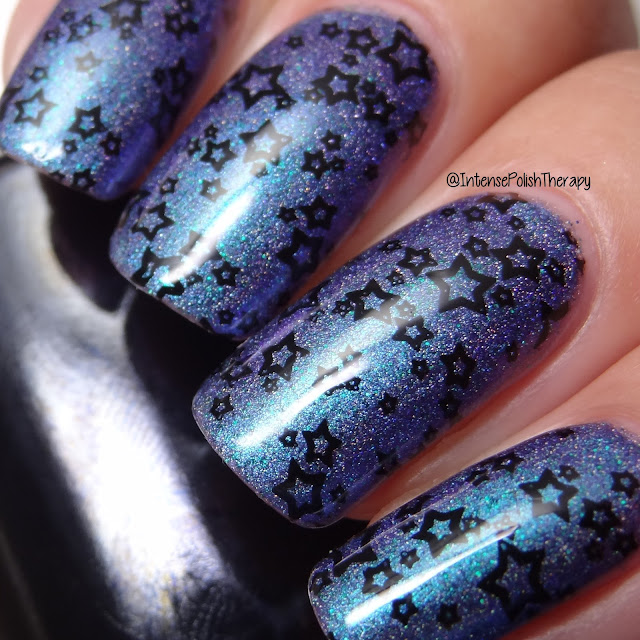 Girly Bits Cosmetics Blue Years Resolution, Cre8tion Black Stamping Lacquer & Bundle Monsters BM-XL214