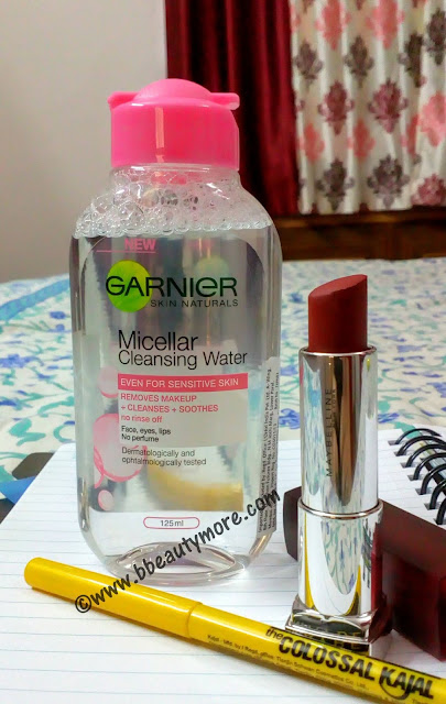 Garnier skin naturals Micellar Cleansing Water is an all in one cleanser that removes makeup, cleanses, soothes. No need to rinse. Can be used on sensitive skin too.
