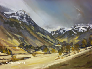 Lancashire artist Rob Miller paints Grizedale in Winter