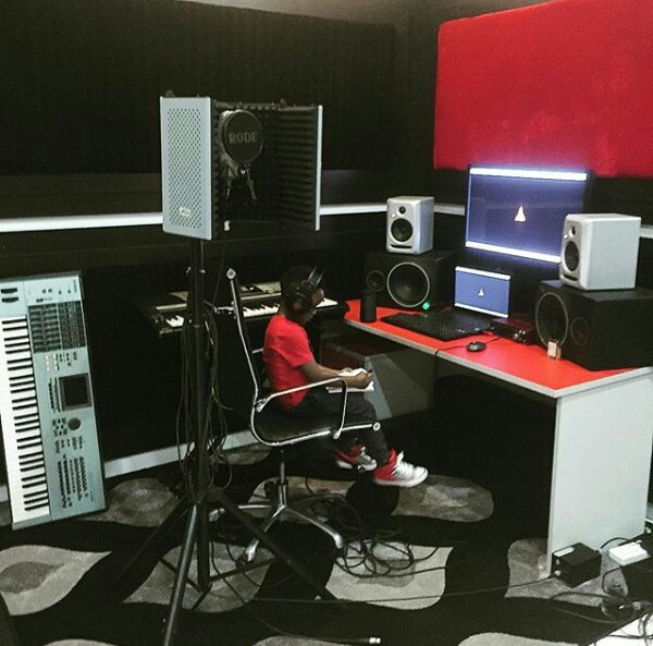 Catching them young! Paul Okoye shares photo of his son working in the studio