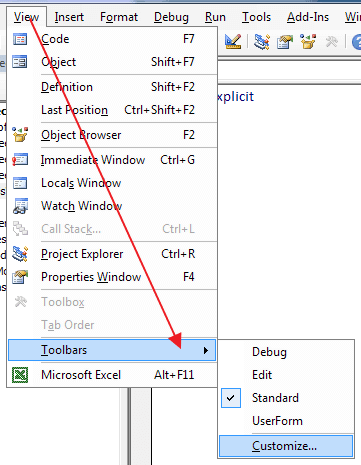 Edit Excel VBE Toolbars
