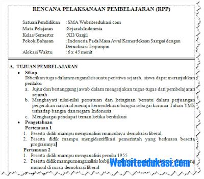 RPP Sejarah Indonesia Kelas 12 Kurikulum 2013 Revisi 2018
