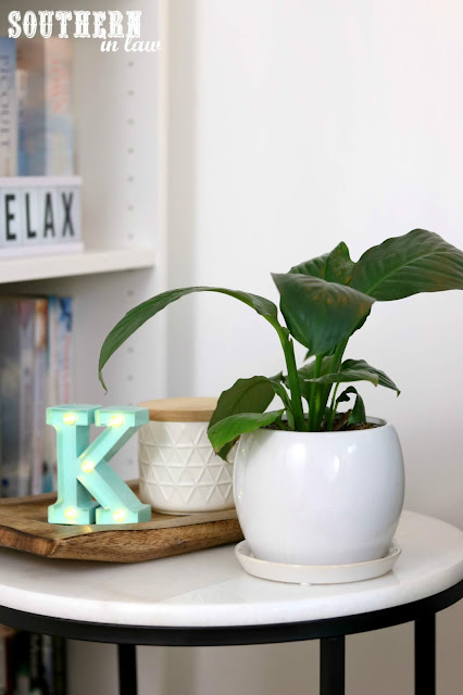 How to Create a Cosy Reading Nook In Your Home - Interior Design Home Ideas for Bookworms - Marble Side Table Styling with Peace Lily