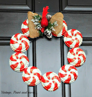 Vintage, Paint and more... Thrifted vintage jello molds painted in a candy stripe motif and formed into a gorgeous Christmas wreath with an added burlap bow and redbird.  Perfect for your farmhouse kitchen.