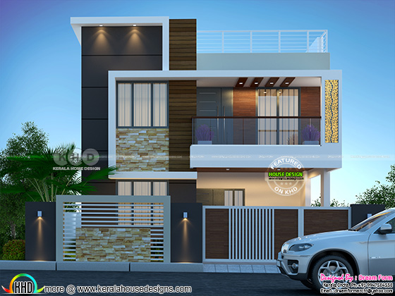 1750 square feet 3 bedroom modern flat roof house rendering