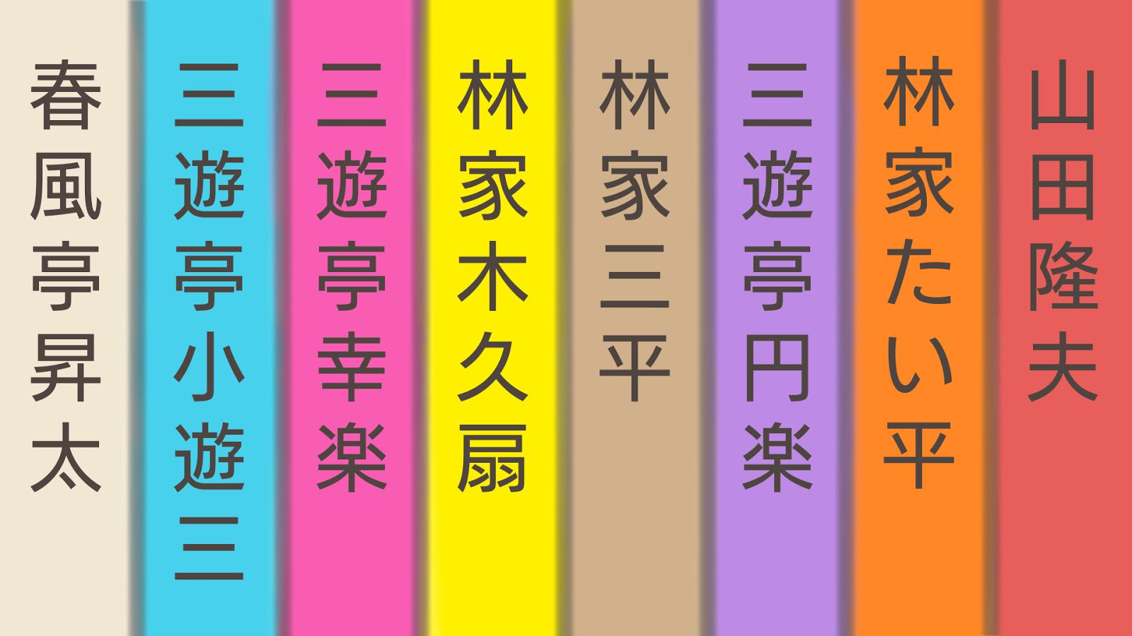 2016年の笑点のメンバー(春風亭昇太、三遊亭小遊三、三遊亭好楽、林家木久扇、林家三平、三遊亭円楽、林家たい平、山田隆夫)の着物の名前