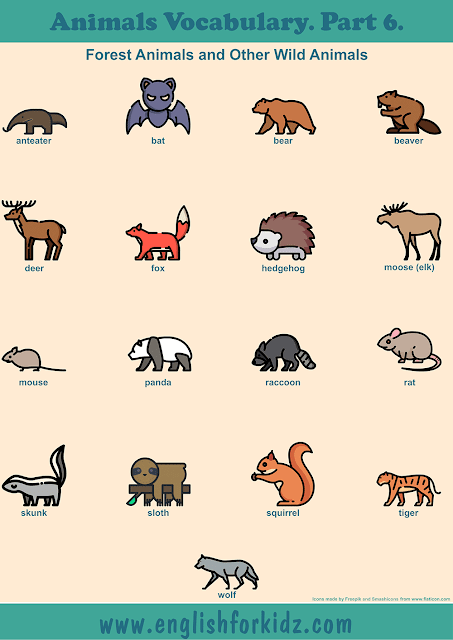 Forest animals vocabulary to learn English – printable ESL worksheets