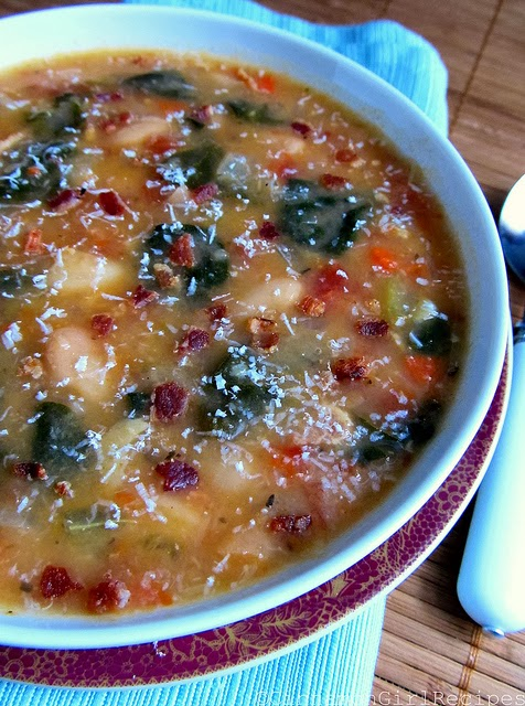 Healthy White Bean, Bacon and Spinach Soup image