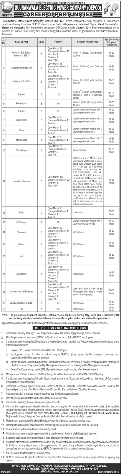Jobs in WAPDA Jobs in GEPCO Jobs