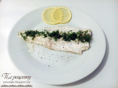 Рыба запеченная или тушеная с лимоном и пореем