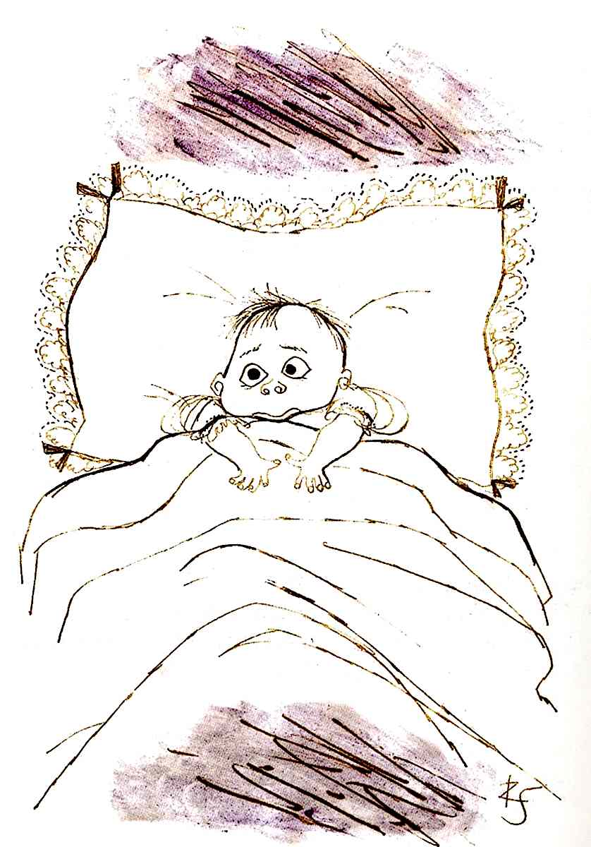 a Ronald Searle sketch of a new baby
