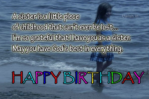 Happy Birthday Sister Quotes, e greeting cards and wishes in a beach.