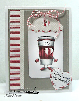 North Coast Creations Stamp Set:Thanks A Latte, Our Daily Bread Designs Custom Dies: Tag Trio, Umbrellas, Double Stitched Rectangles, Mini Stitched Hearts, Paper Collections: Snowflake Season, Shabby Pastels