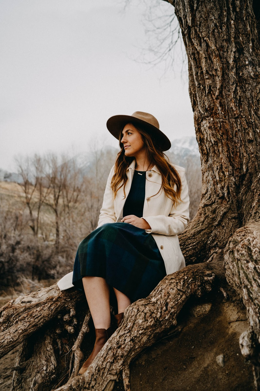 moody portrait vintage plaid dress