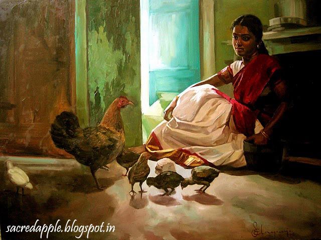 portrait of a girl with chickens