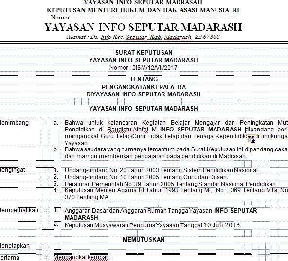 Contoh SK Yayasan Pengangkatan Guru Madrasah 2019