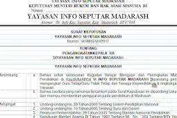 Contoh SK Yayasan Pengangkatan Guru Madrasah 2018 –