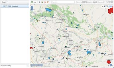 nextgis map viewer - Основная Веб-карта с границами ООПТ (ПЗФ) Украины