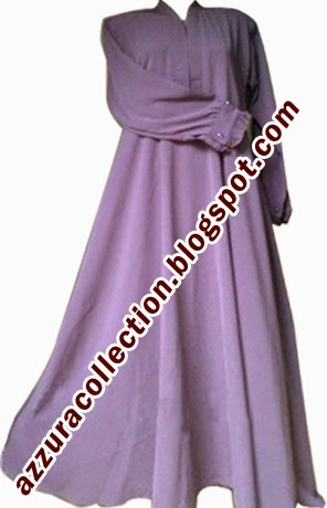 Azzuracollection Gamis Polos Model Klok Warna Ungu Muda