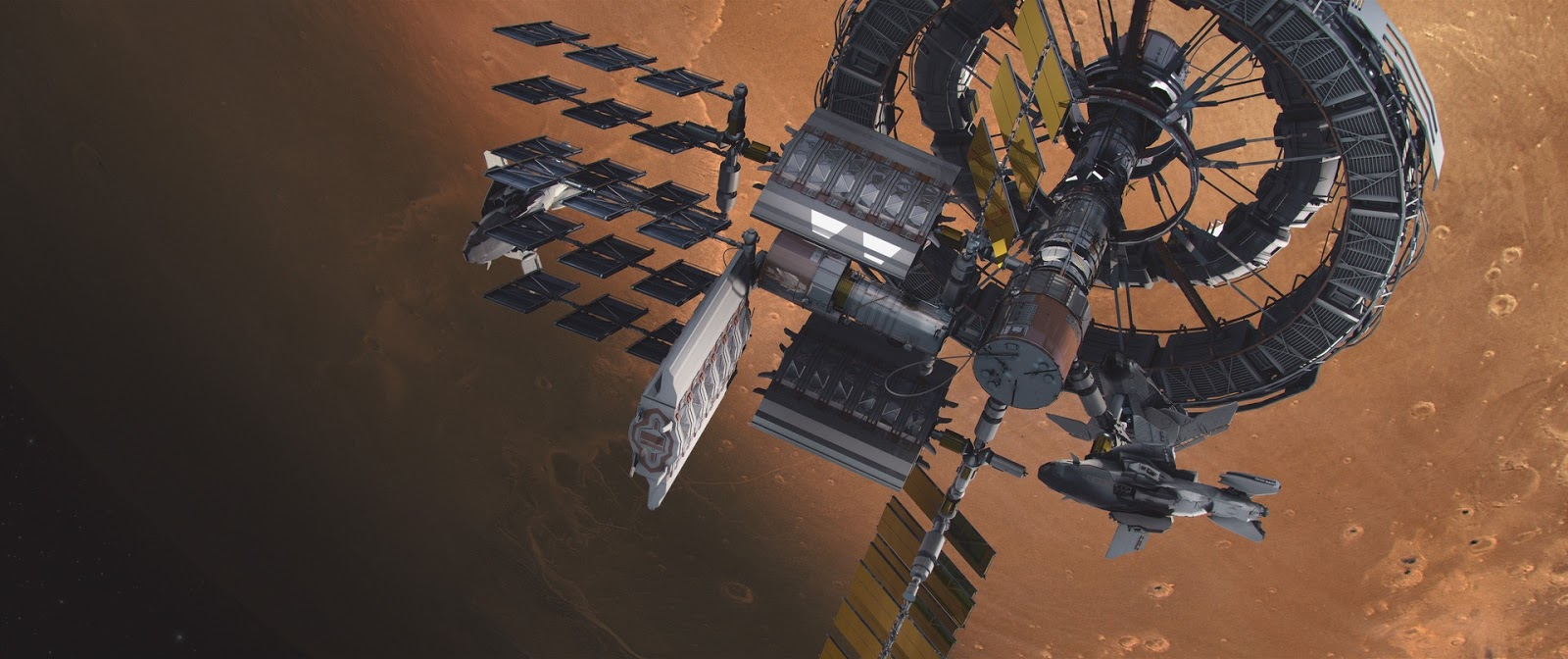 Space station orbiting Mars by Brad Wright
