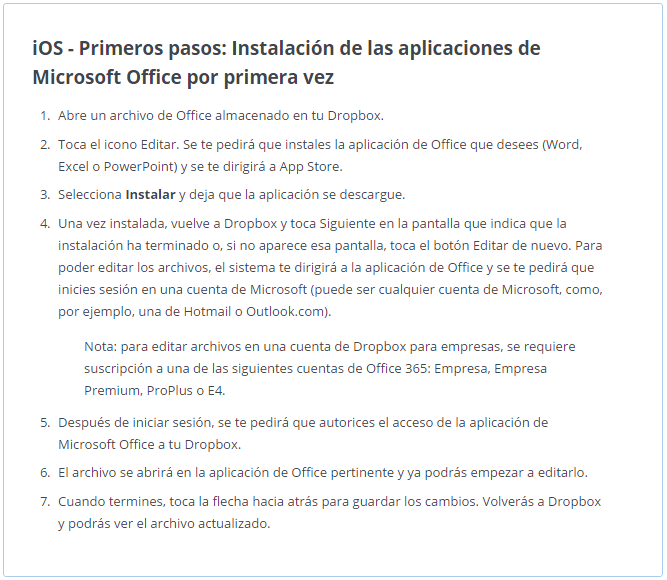 Office + Dropbox en iOs