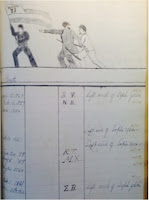 A handwritten ledger including a sketch of three men and a flag.