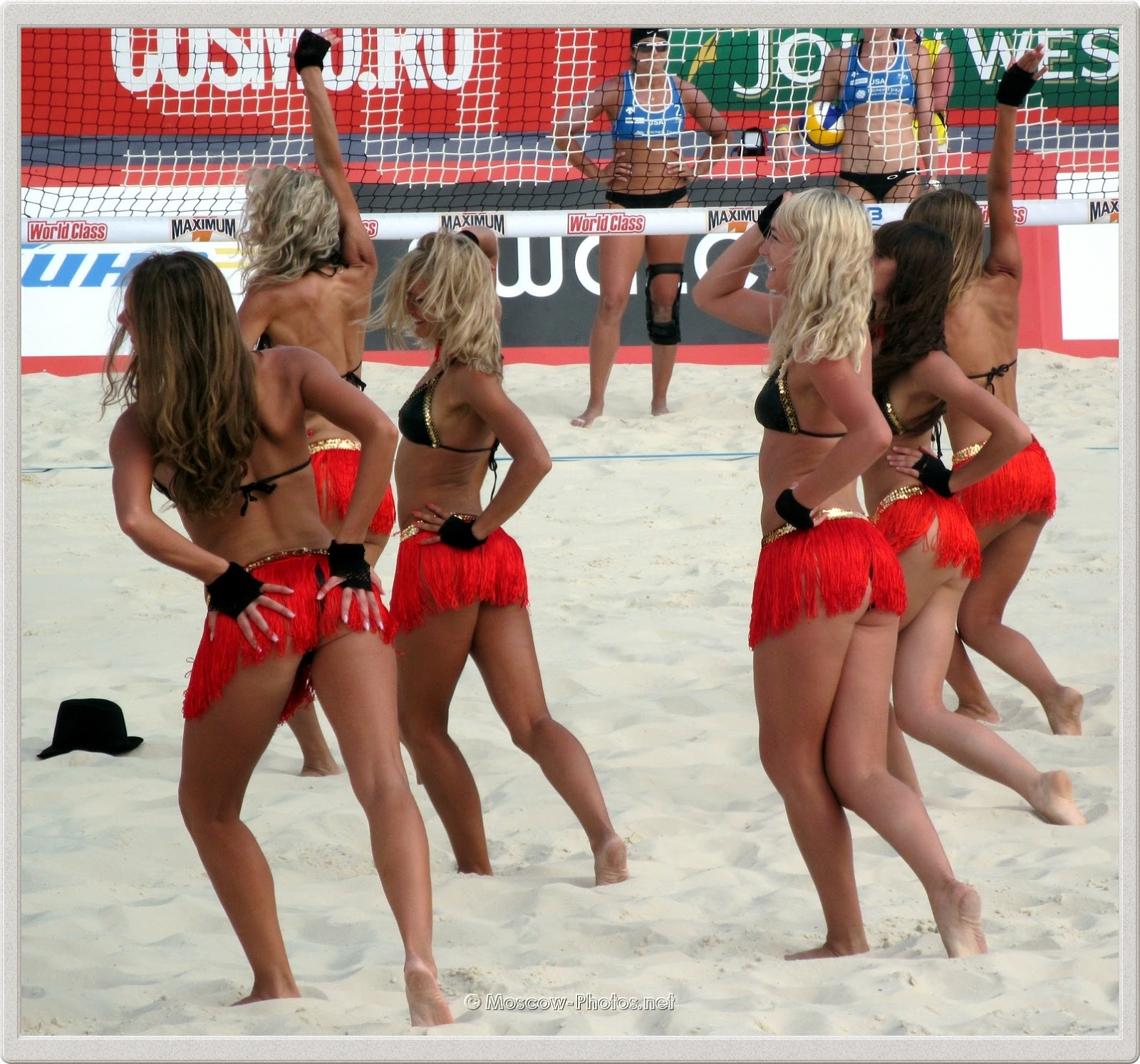 Beach Volleyball Girls in Red Mini Skirts