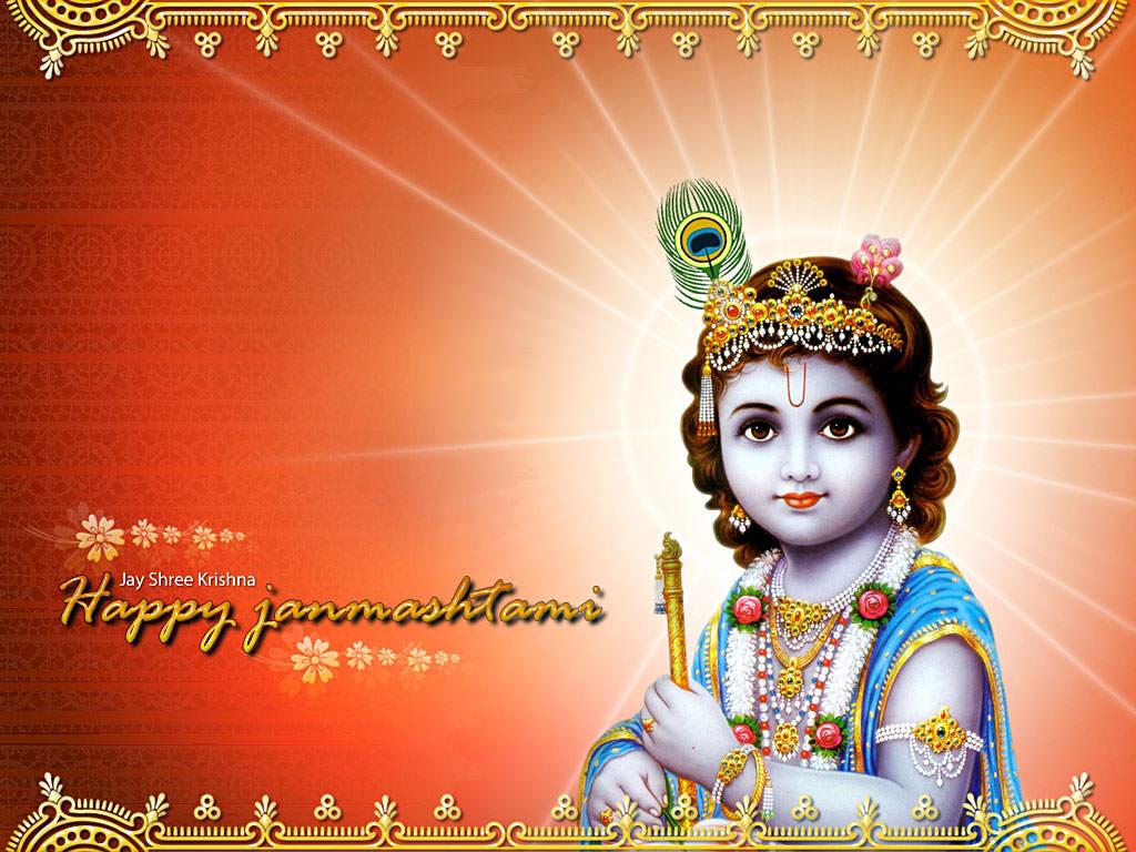 Sri krishna jayanti wallpaper - Happy Shri Krishna Janmashtami Greeting Cards