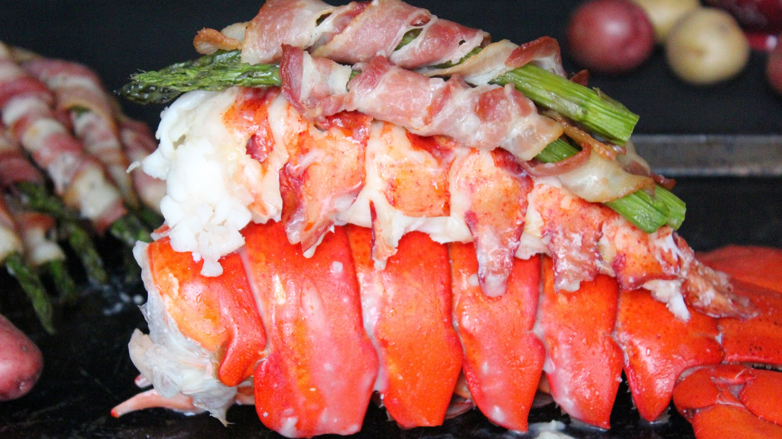 Lobster Tail with Bacon-Wrapped Asparagus