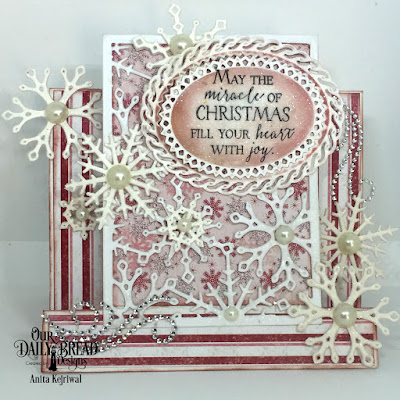 Our Daily Bread Designs Stamp Set: Merry & Bright, Our Daily Bread Designs Paper Collection: Snowflake Season, Our Daily Bread Designs Custom Dies: Snow Crystals, Snowflake Sky, Ornate Ovals, ODBD Fun and Fancy Folds - Center Step