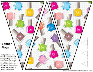 Free Nail Polish Birthday Party Printables- Flag Banners