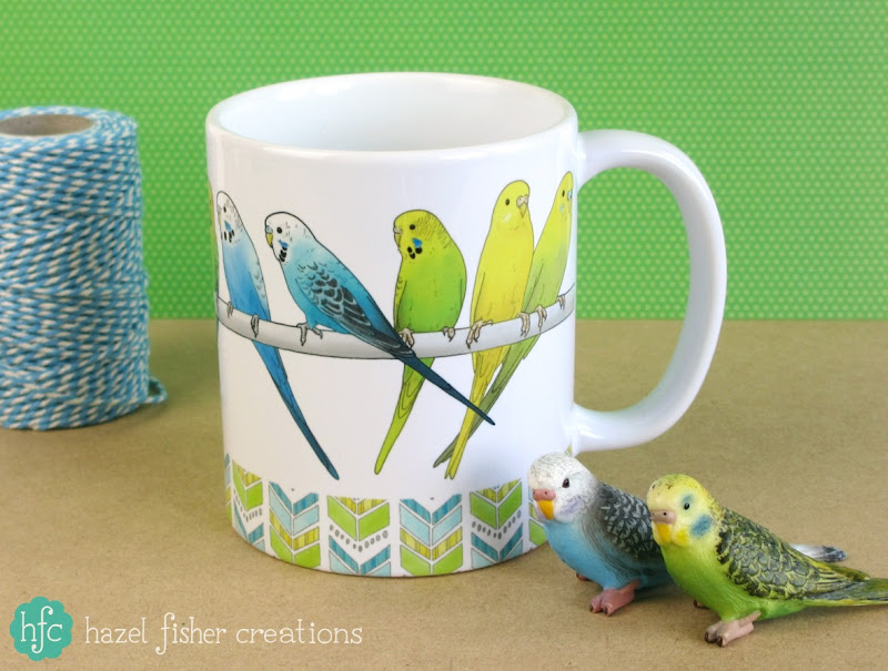 Budgies Mug on Society6 design by hazelfishercreations