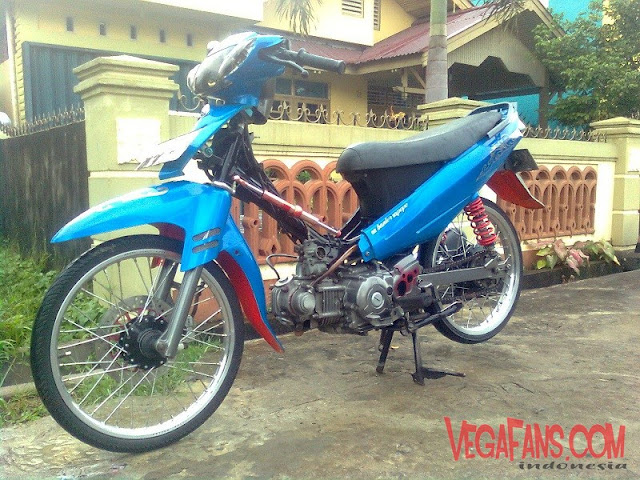 Modifikasi Vega R New Biru Modif Standar Ala Racing