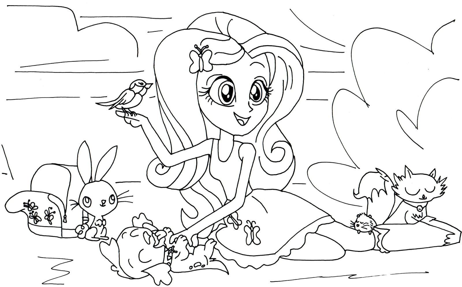 Fluttershy Equestria Coloring Pages Coloring Page