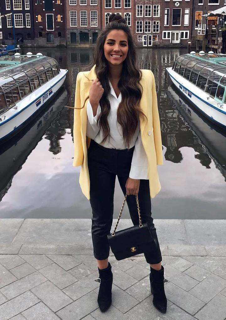 fashionable spring outfit / yellow blazer + blouse + pants + bag + boots