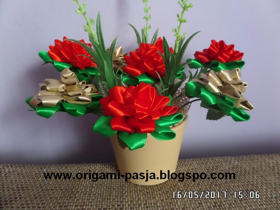 Wwworigami Pasjablogspotcom Kwiaty Ze Wstążki W Doniczce