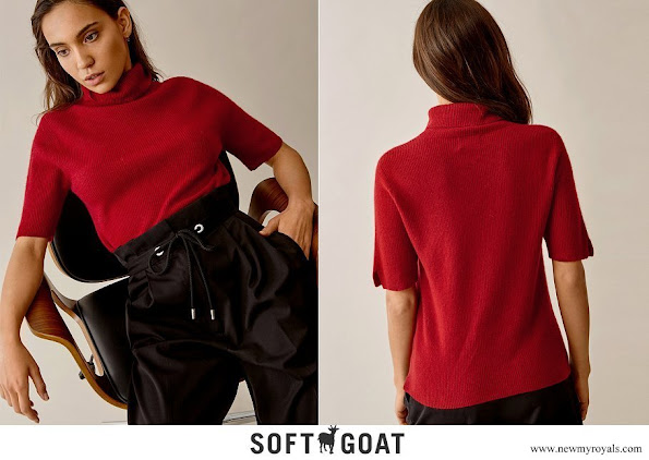 Princess Sofia wore Soft Goat short sleeve turtleneck cashmere sweater