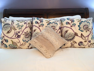 purple floral euro pillow shams with small toss pillow